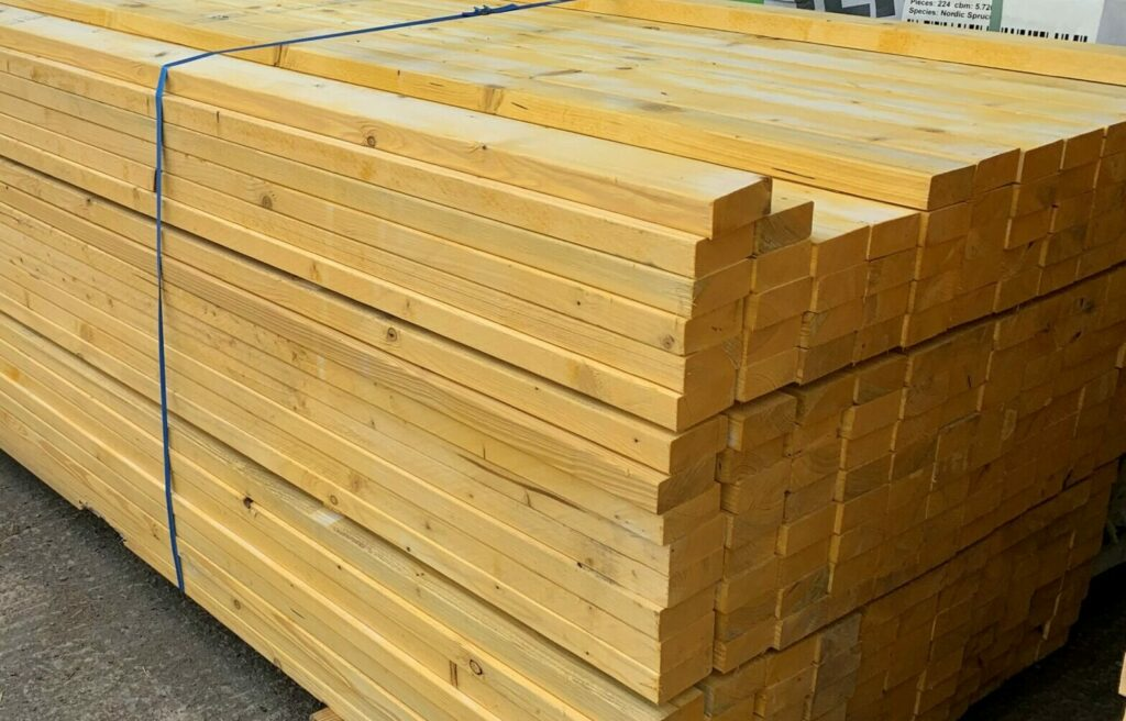 Stack of timber for use in self build timber frame house project